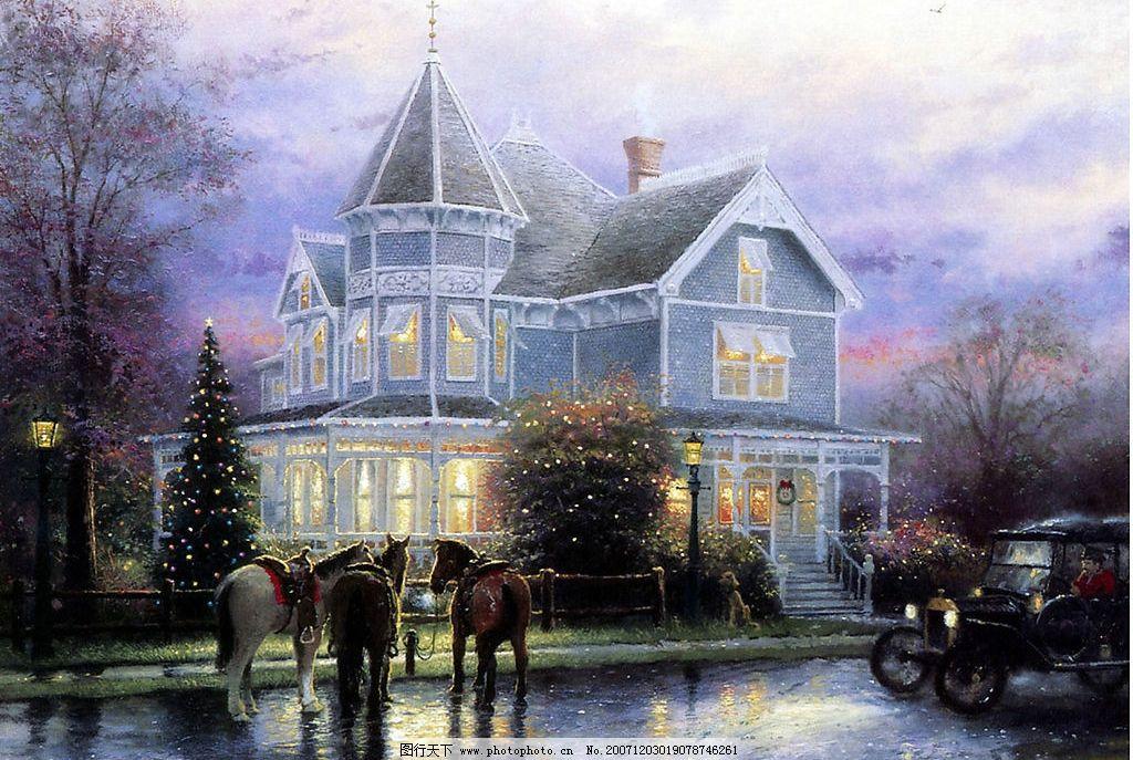 手绘圣诞雪景 文化艺术