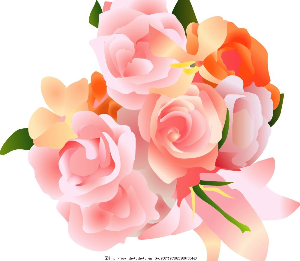 一束花 花朵 很温馨的 底纹边框 底纹背景 漂亮的矢量模板 矢量图库