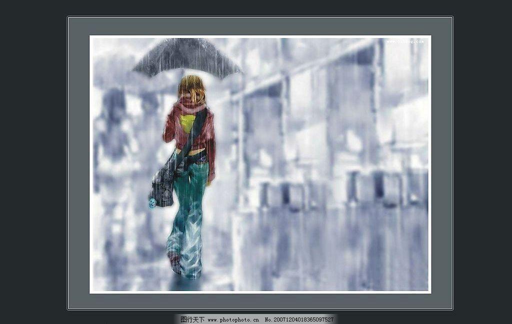 唯美女生雨中撑伞场景图片_动漫人物_动漫卡通_图行