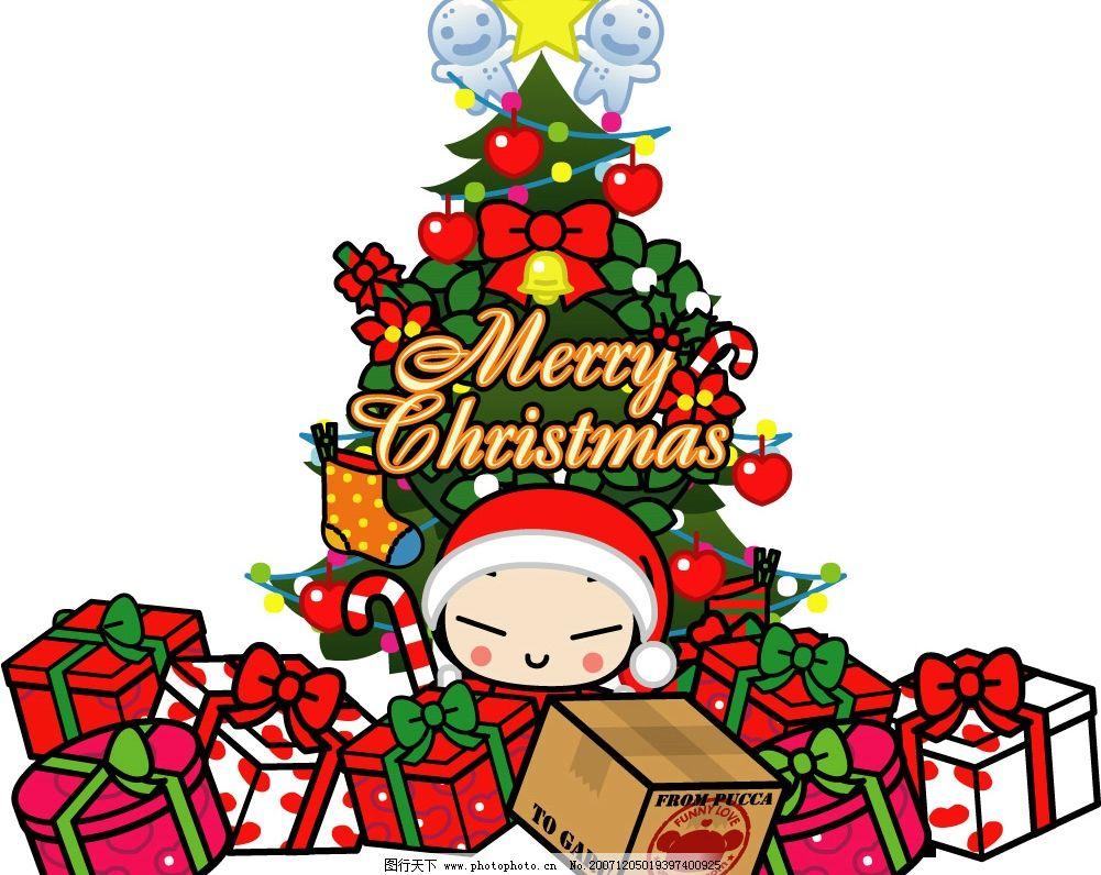 圣诞Q版可爱矢量图 圣诞节 圣诞老人 Q版 麋鹿 礼物 可爱 文化艺术 节