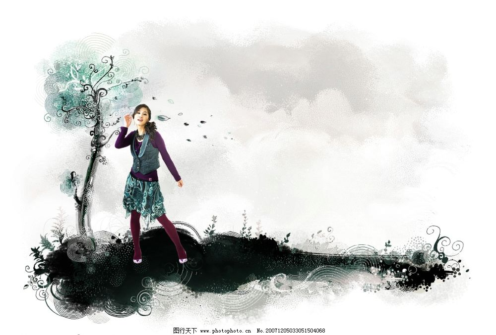 美女 手绘 背景图片