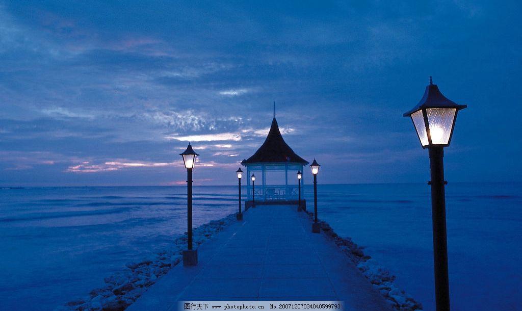 加勒比海风景系列 加勒比海 风景 海 海边夕阳 走廊 灯 旅游摄影 国外