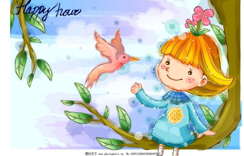韩国手绘娃娃系列 儿童 矢量人物 儿童幼儿 矢量图库   ai