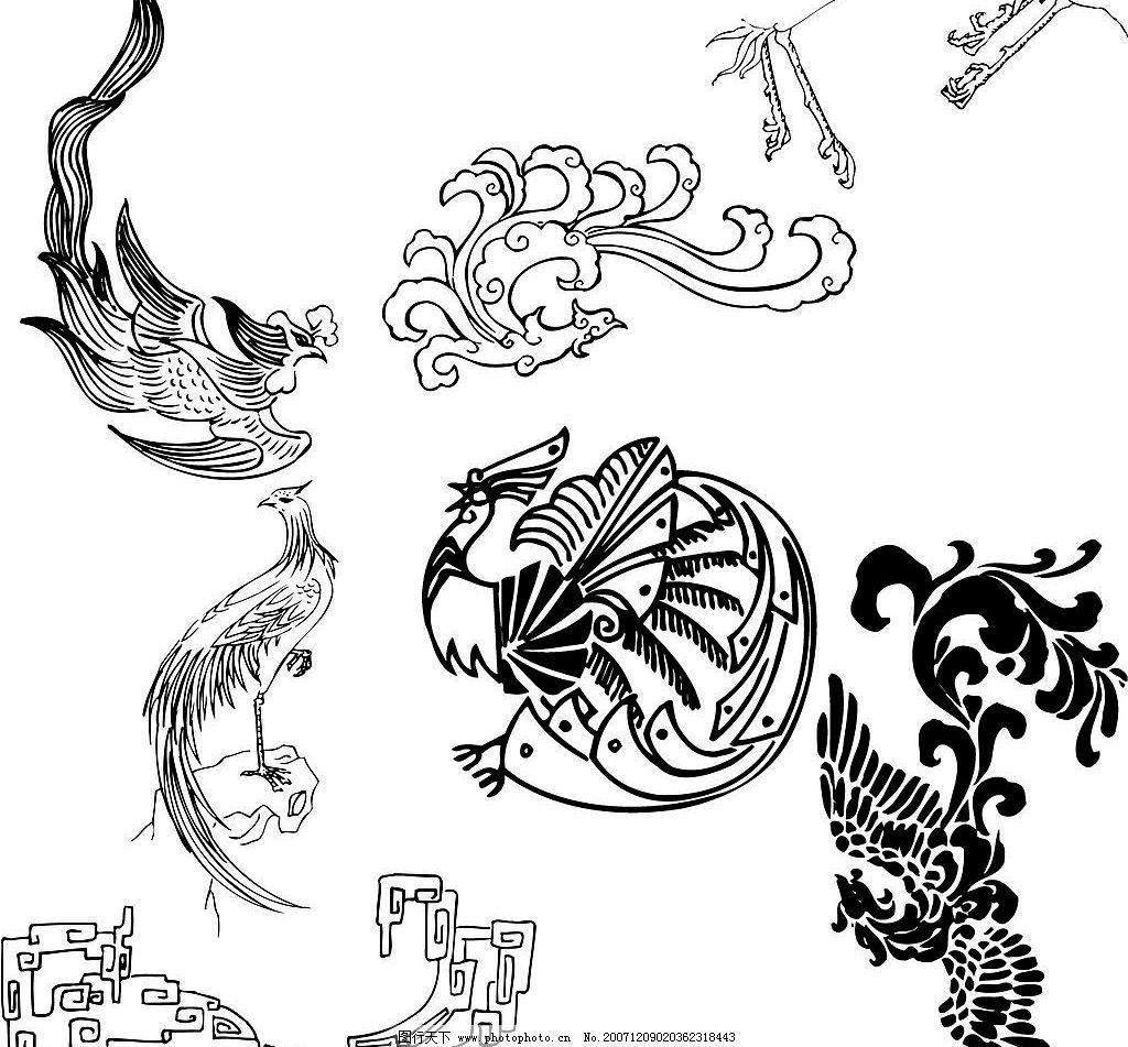 中国传统图案 吉祥物 凤 花纹花边 矢量图库