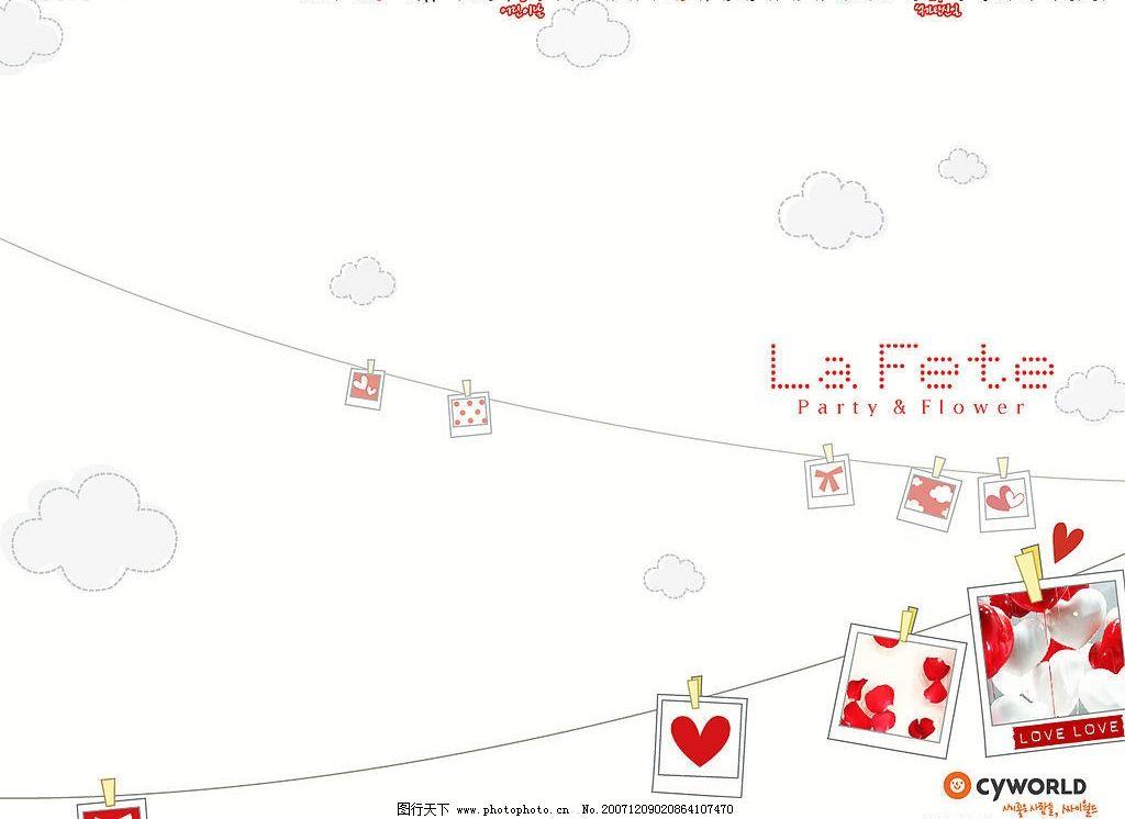 红色相片 底纹边框 其他素材 可爱的韩国背景图片 设计图库 72 jpg