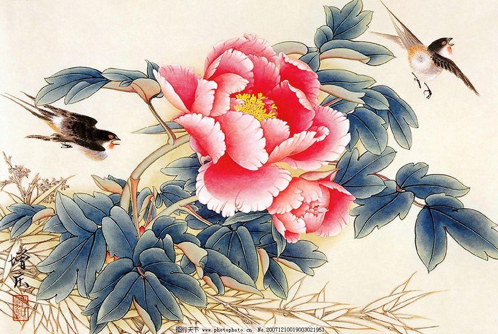 国画 牡丹花鸟图片