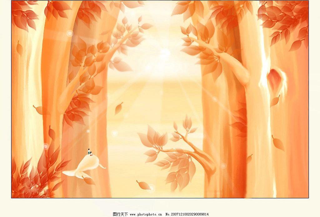 树林 橙色 树木 底纹边框 背景底纹 简单素材 设计图库 300 jpg