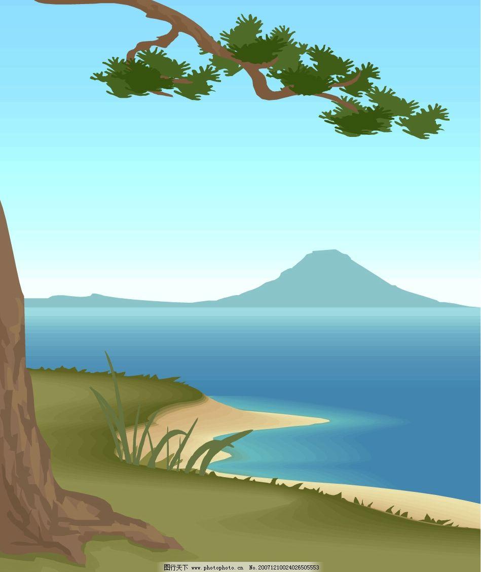 望夫松 矢量图 自然风景 彩虹 ai 自然景观 矢量图库