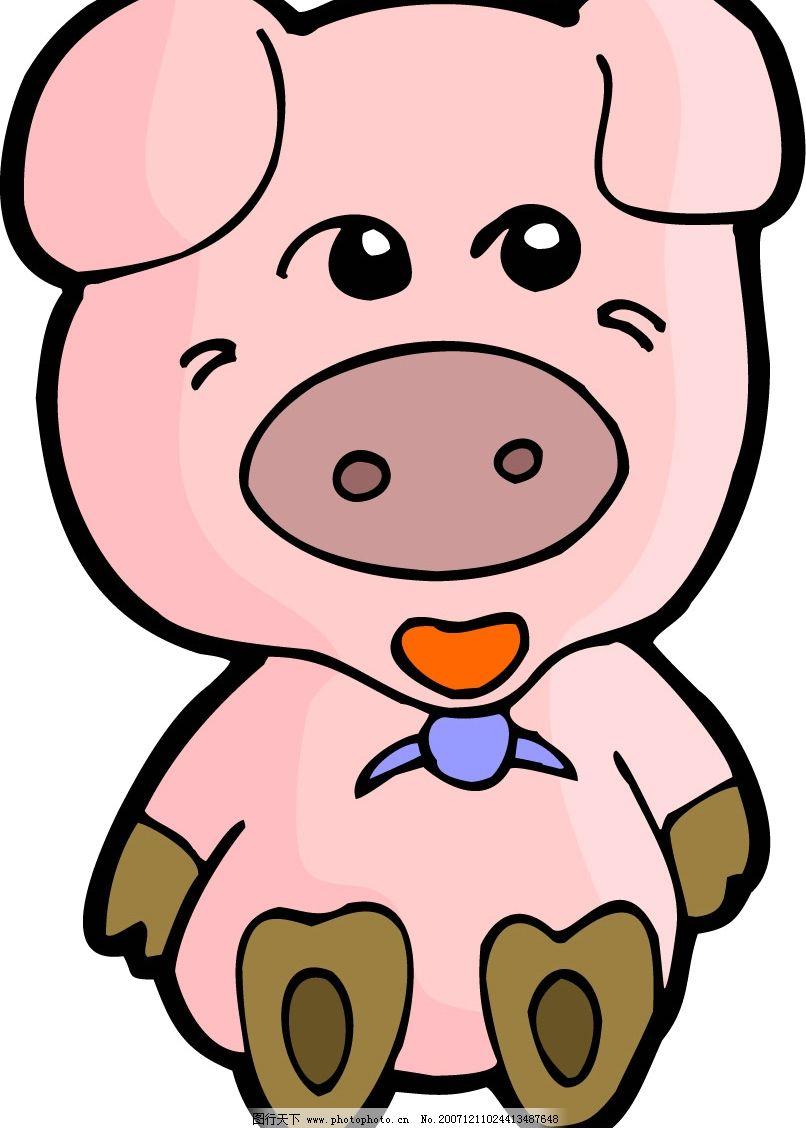 卡通猪 十二生肖 生物世界 野生动物 矢量图库   cdr