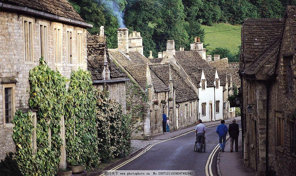 小镇风光 欧式建筑 道路