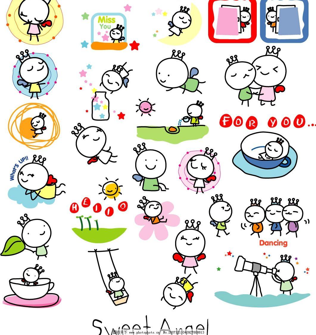 儿童画效果可爱天使图片