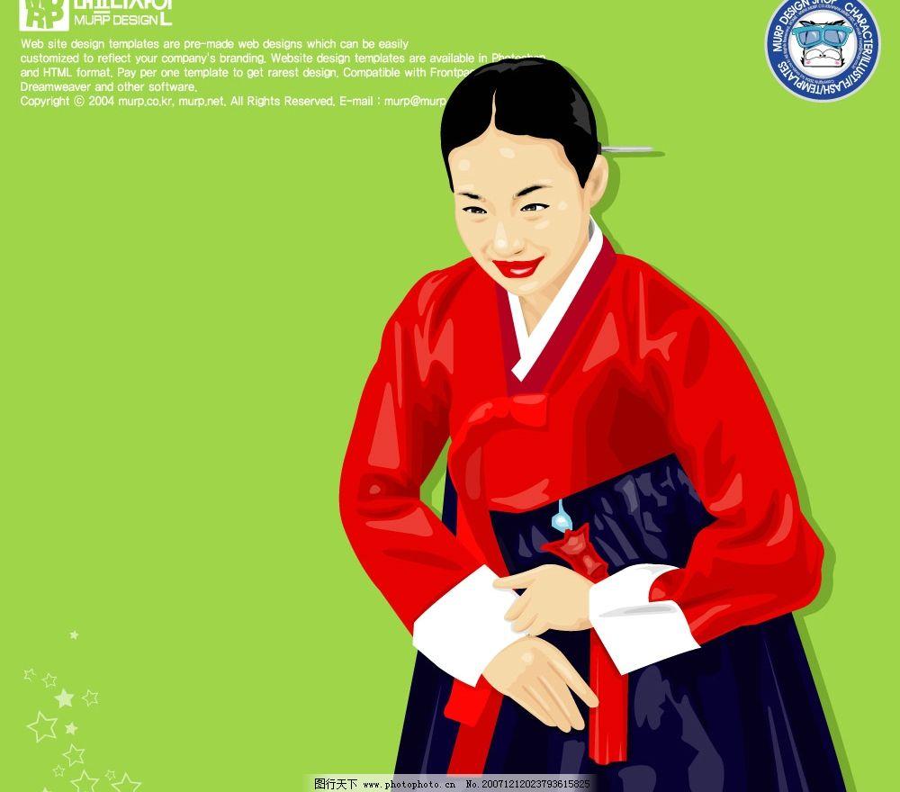失量 韩国 卡通 女孩 美丽 礼仪 拜年 欢迎光临 矢量人物 妇女女性