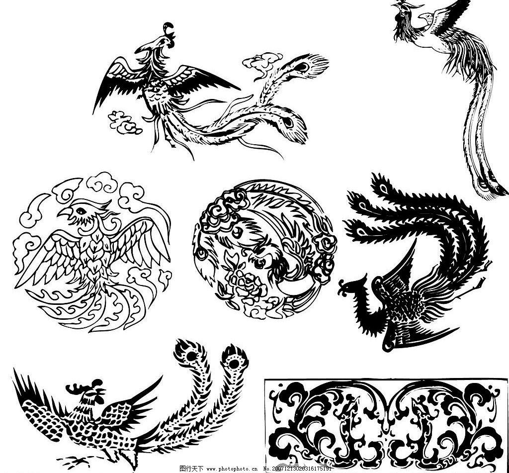 中国传统图案 吉祥物 凤 底纹边框 花纹花边 ai文件 矢量图库   ai