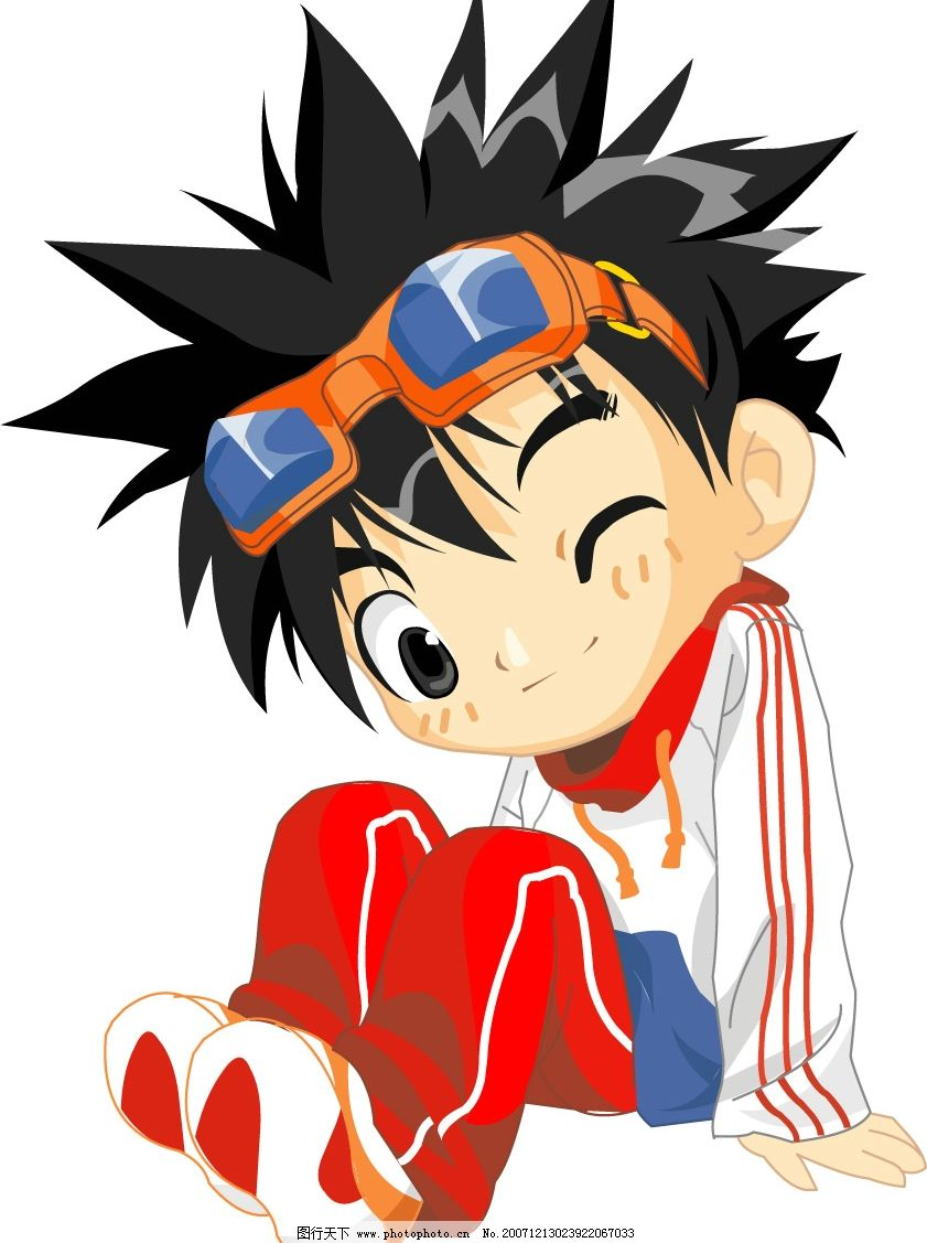 红裤男孩 风镜 卡通人物 男孩 坐姿 眨眼 矢量人物 其他人物 卡通人物