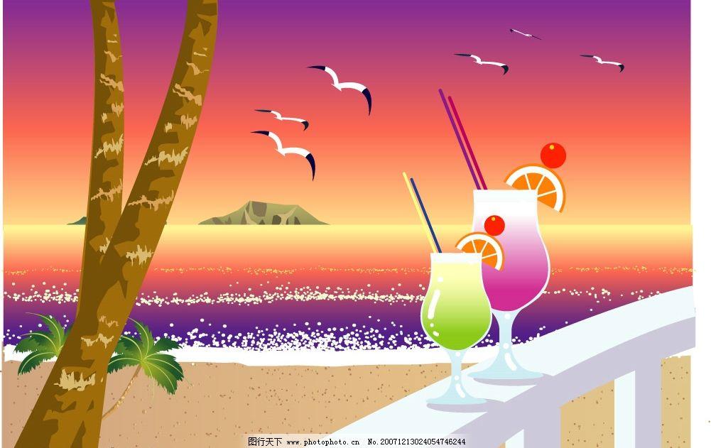 海景 浪漫海景 矢量风景 自然风光 夏 自然景观 自然风景 风景 矢量