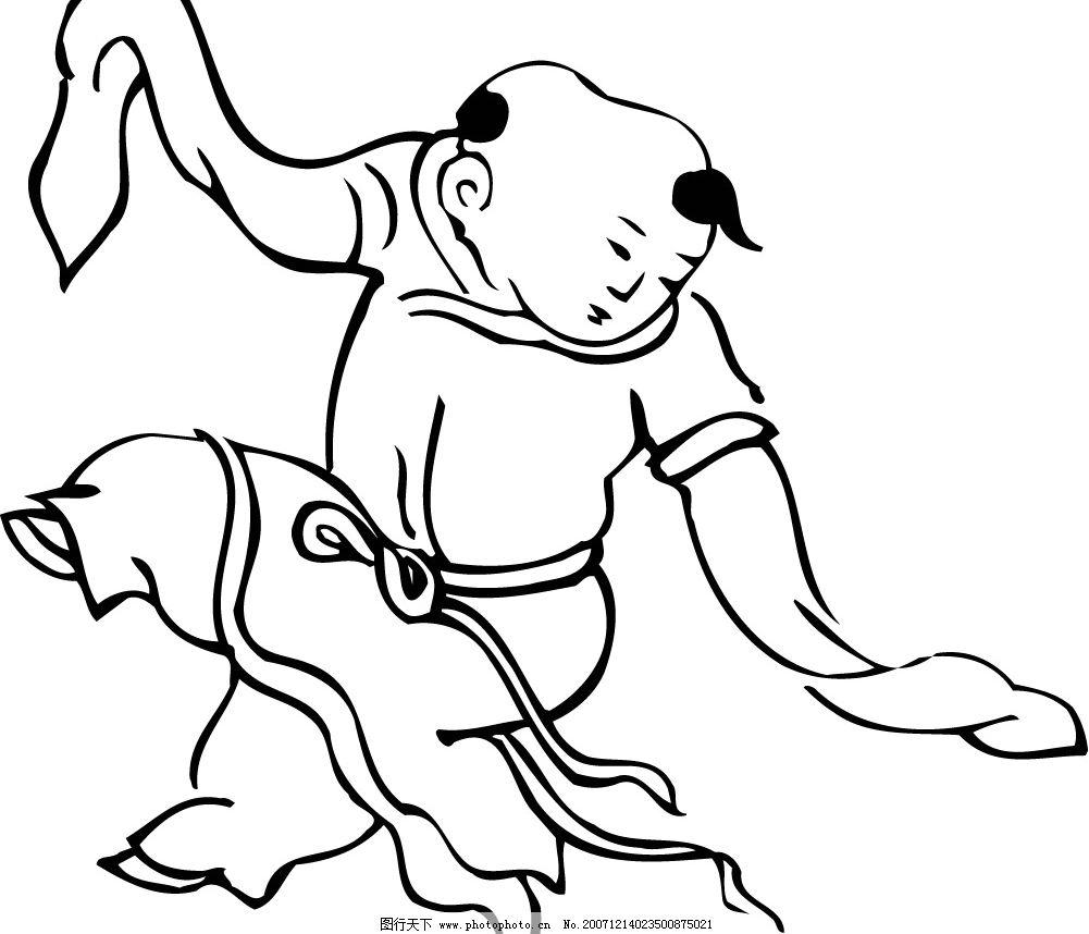 中国古代儿童(051) 小孩 矢量 黑白 孩子 矢量人物 中国古代儿童黑白