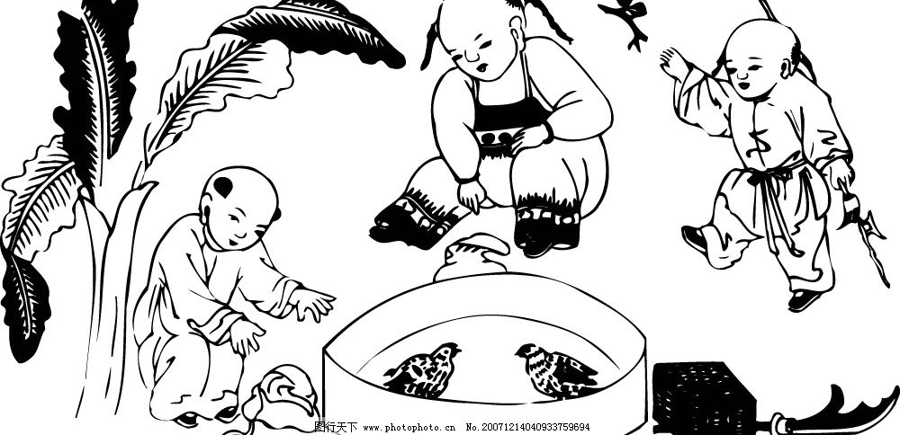 中国古代儿童(069) 小孩 矢量 黑白 孩子 矢量人物 儿童幼儿