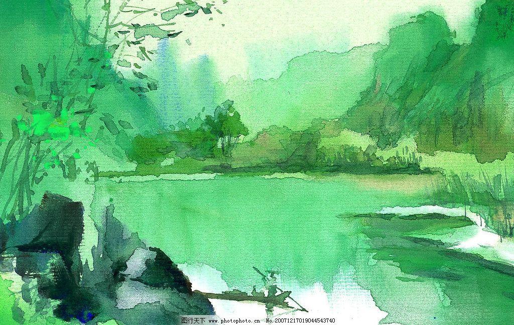水粉画 小粉山水画 文化艺术 绘画书法 水粉风景 设计图库 72 jpg