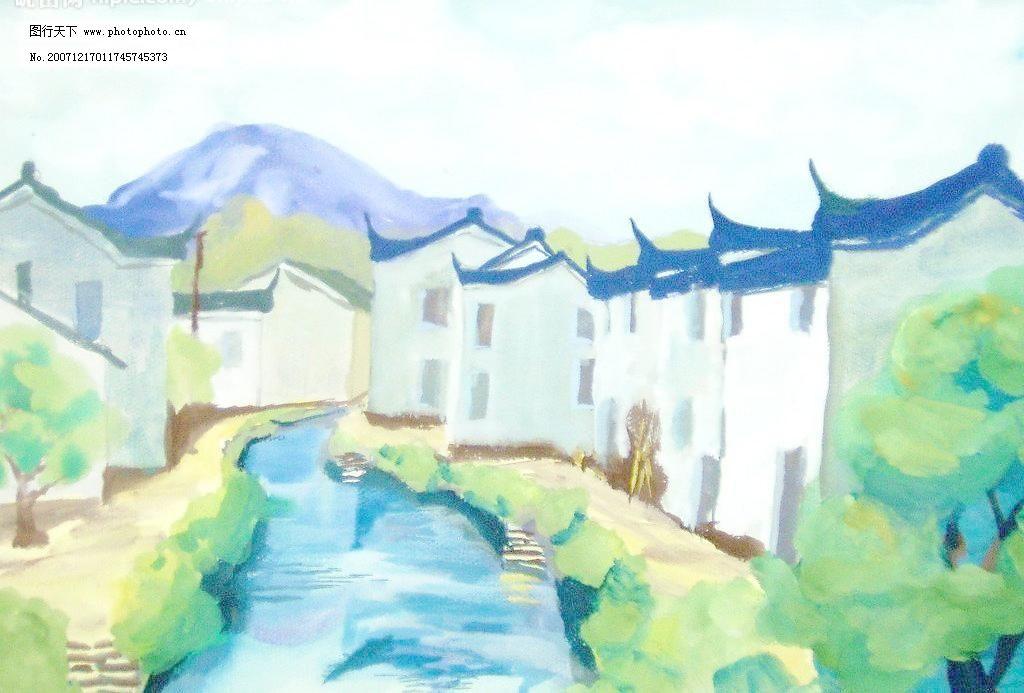 学生水粉风景画图片_山水风景画_装饰素材_图行天下