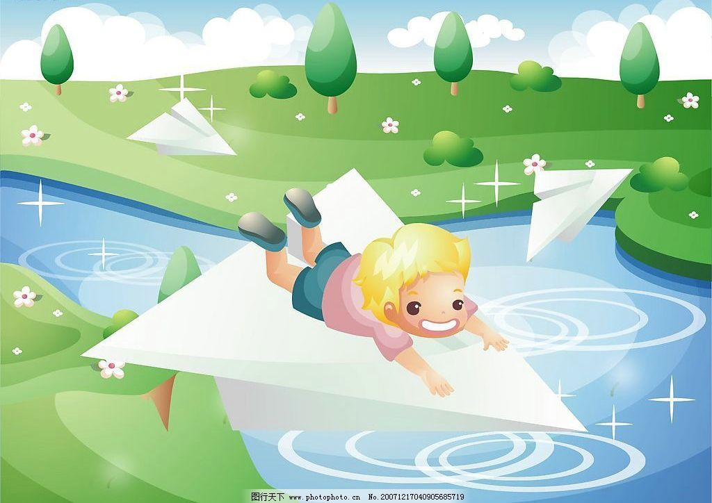 童年的小孩 纸飞机 卡通 动漫 漫画 矢量素材 可爱 矢量人物