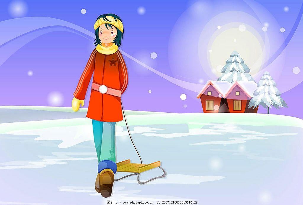 圣诞卡通风景图片_动漫人物