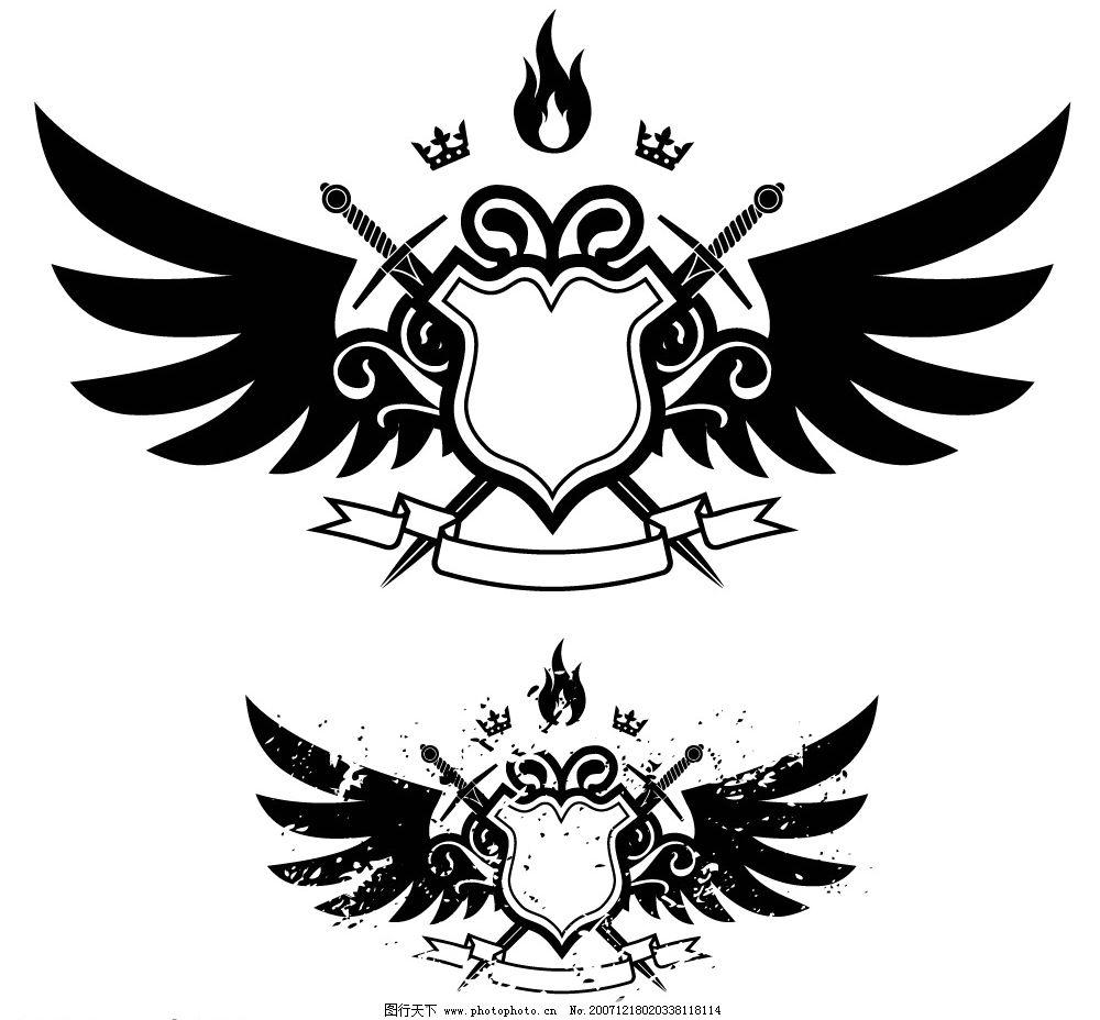 个性素材 翅膀艺术风 底纹边框 花纹花边 矢量图库   ai
