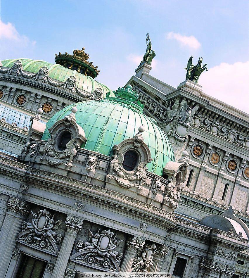 欧式建筑 欧洲 石雕 房屋圆顶 绿色玻璃 自然景观 建筑景观 世界建筑