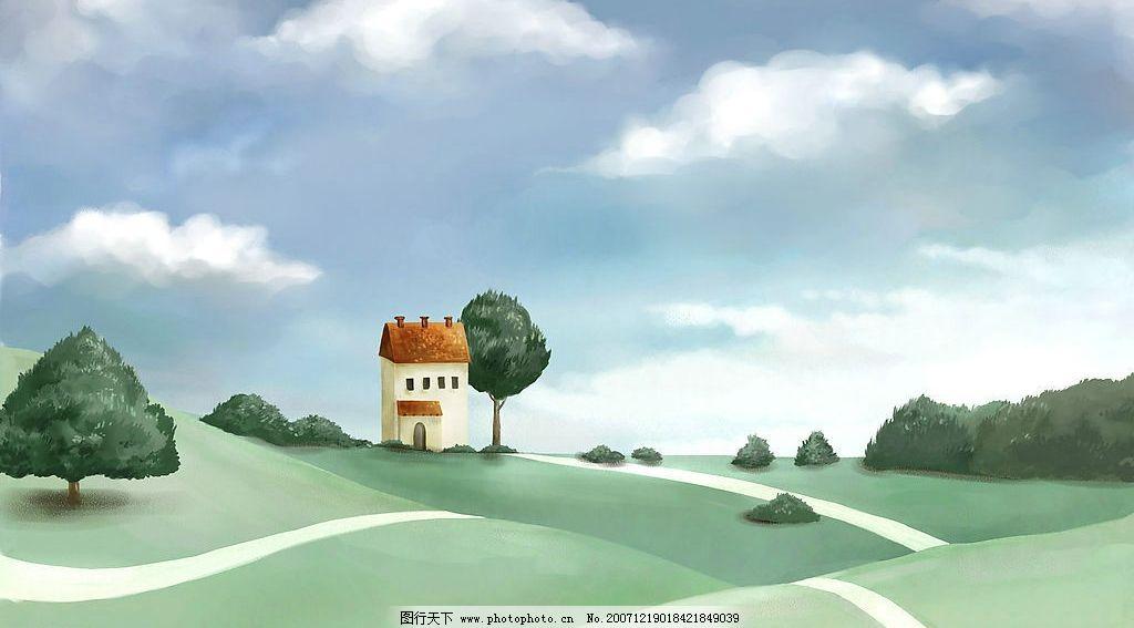 手绘插画 手绘 插画 动漫动画 风景漫画 精美手绘插画 设计图库 72