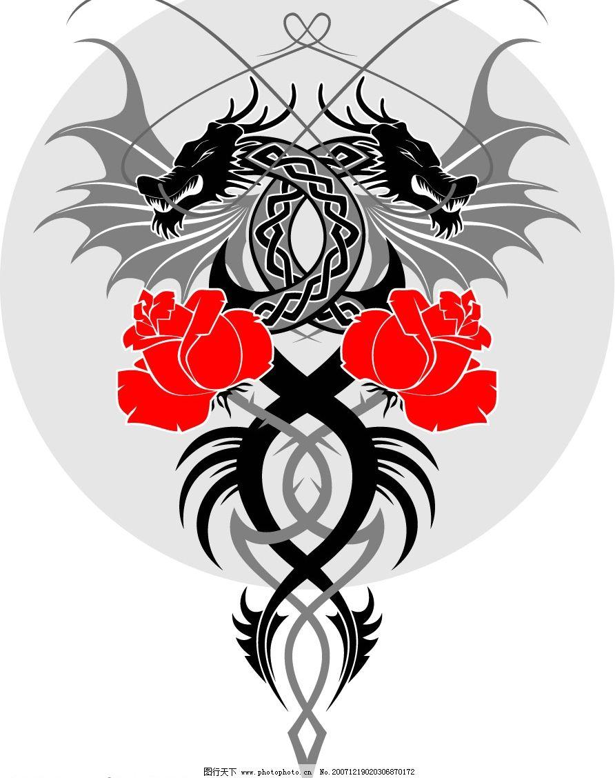 花纹 潮流 花卉 西方的龙 底纹边框 花纹花边 矢量图库