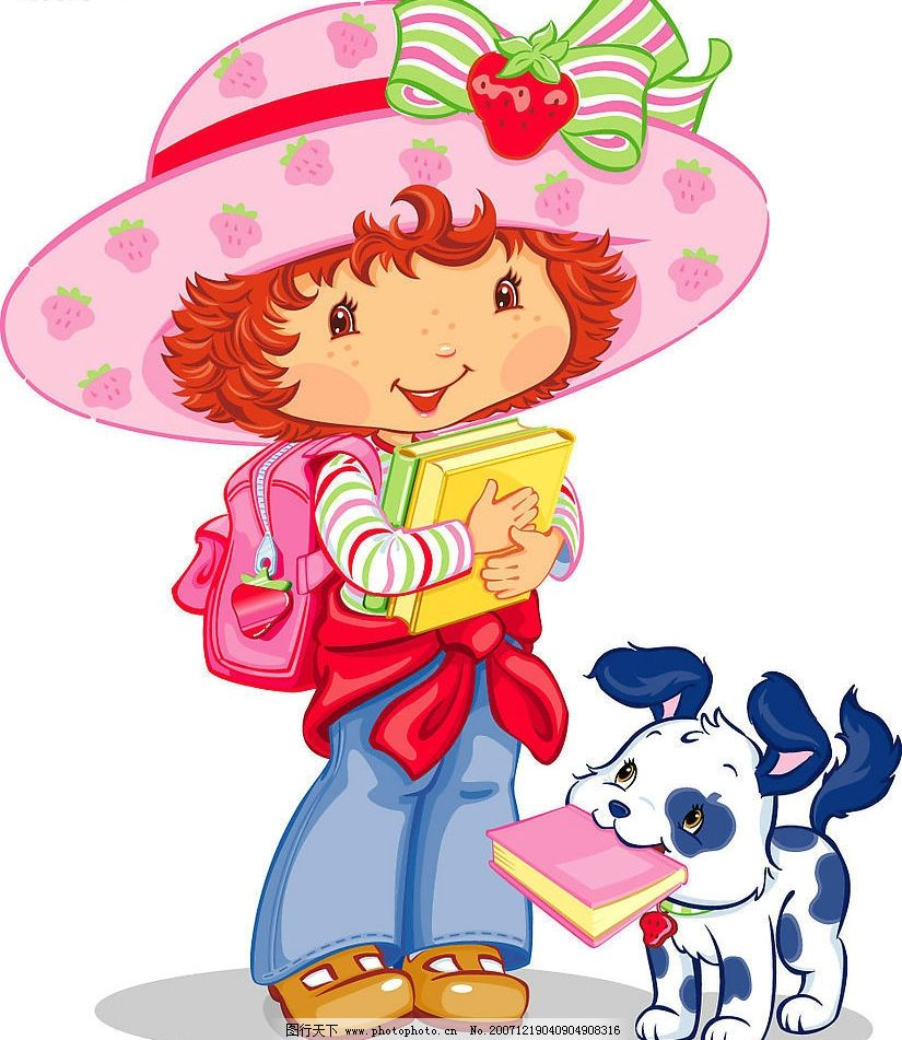 草莓女孩 可爱 小狗 卡通 动漫 漫画 矢量素材 矢量人物 儿童幼儿
