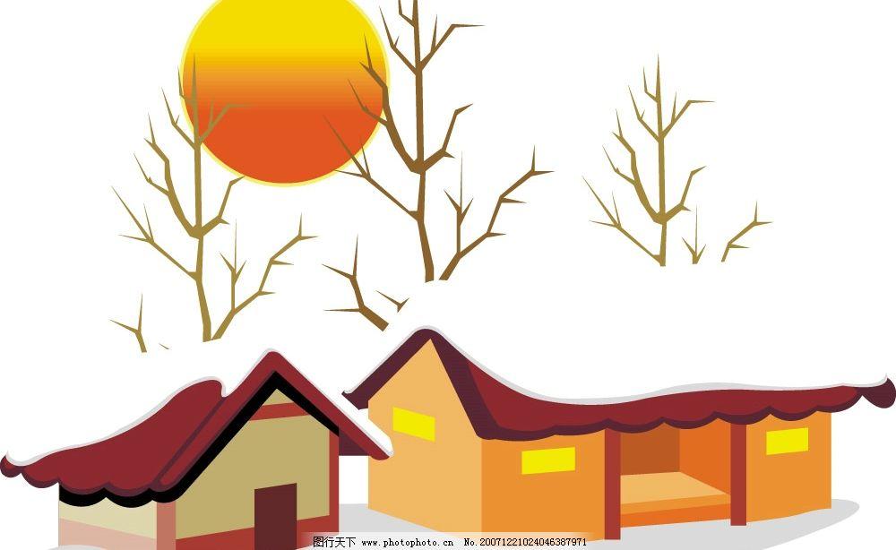 冬日雪景 雪景 太阳 自然 矣量 自然景观 自然风景 矢量图库   wmf