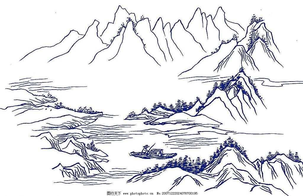 山水黑白马克笔手绘