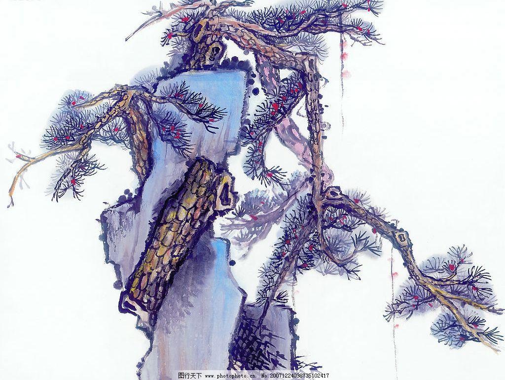 山水水墨画 松树 古松图片
