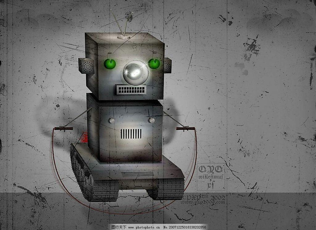 机器小人 灰色 机器 小方人 动漫动画 动漫人物 插画 设计图库 72 jpg