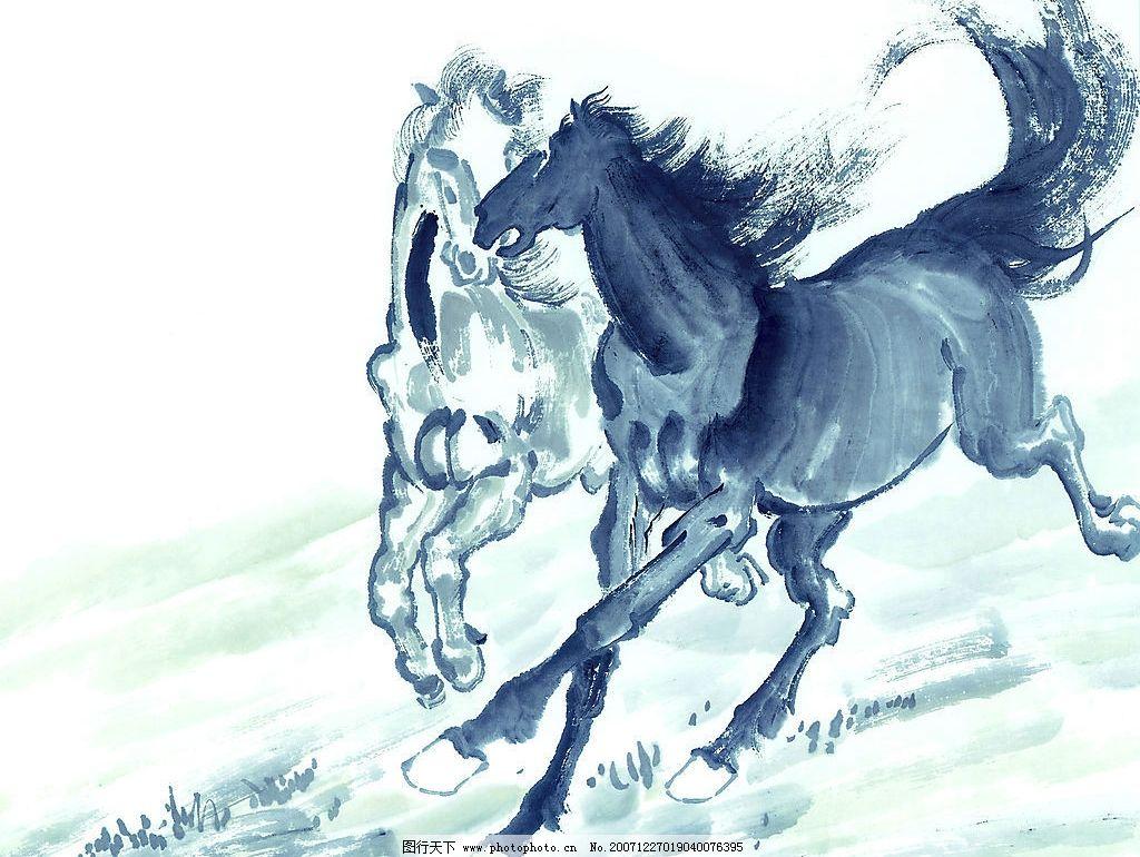 生肖马国画 国画 水彩画 骏马 文化艺术 绘画书法 生肖国画图集 设计