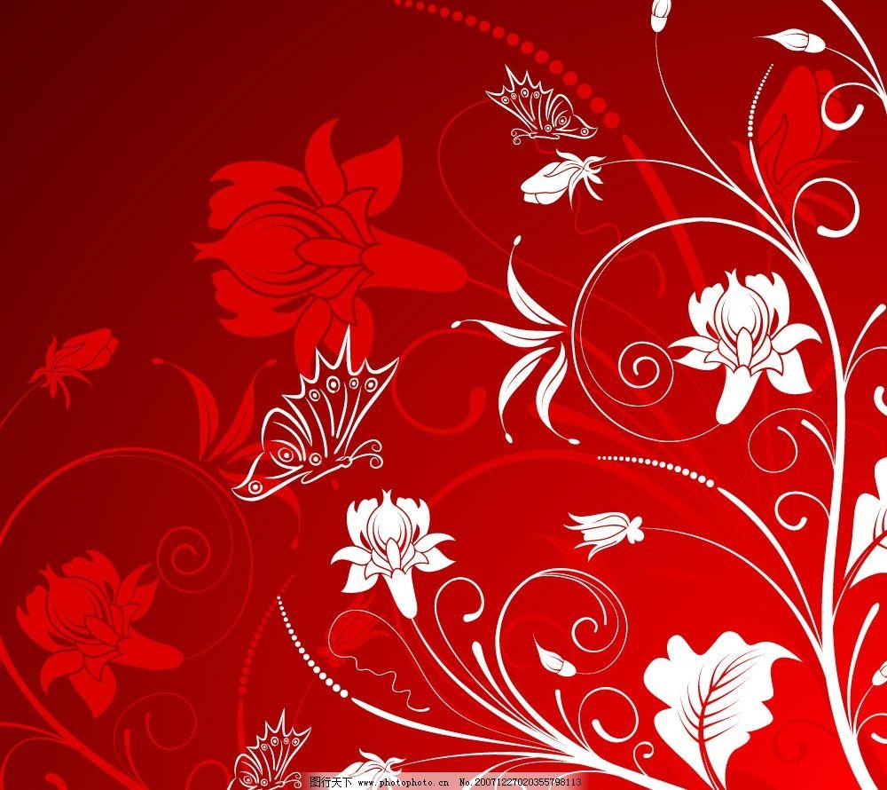 华丽的花藤蝴蝶 华丽 花藤 蝴蝶 底纹边框 花纹花边 华丽的花纹 矢量