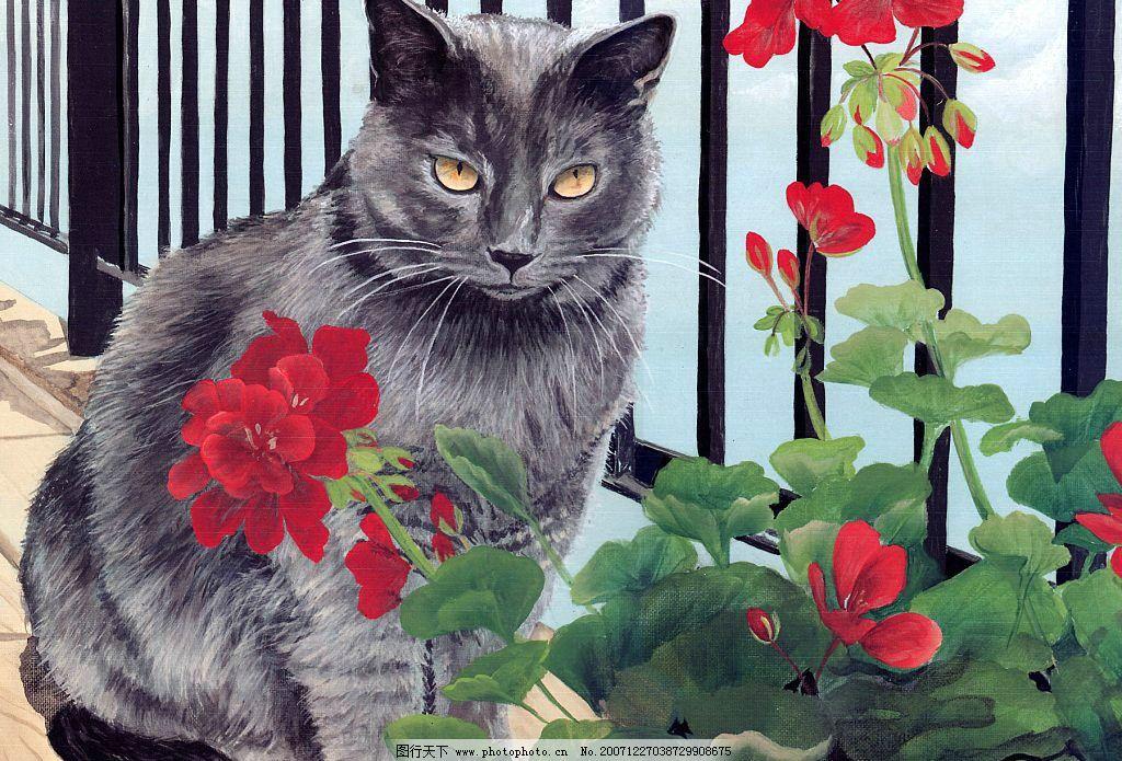 猫咪和花 栏 美术绘画 手绘小猫咪 摄影图库