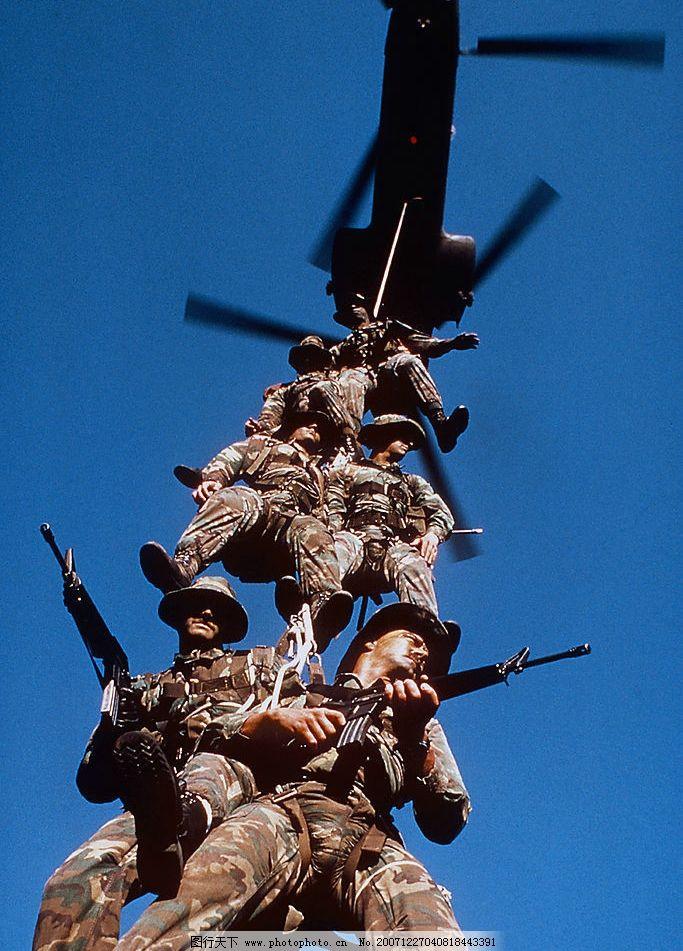 军事行动01 直升飞机 蓝天 战士 图片素材 军事素材 摄影图库