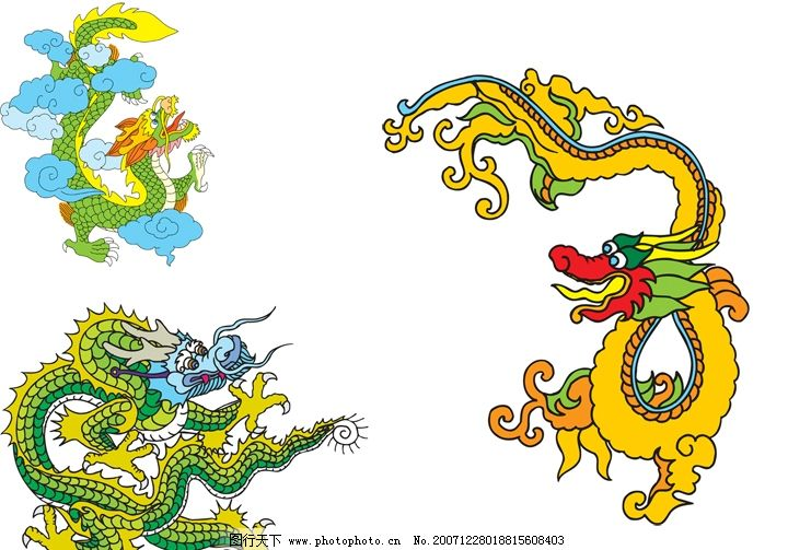 中国 龙 文化 装饰 素材