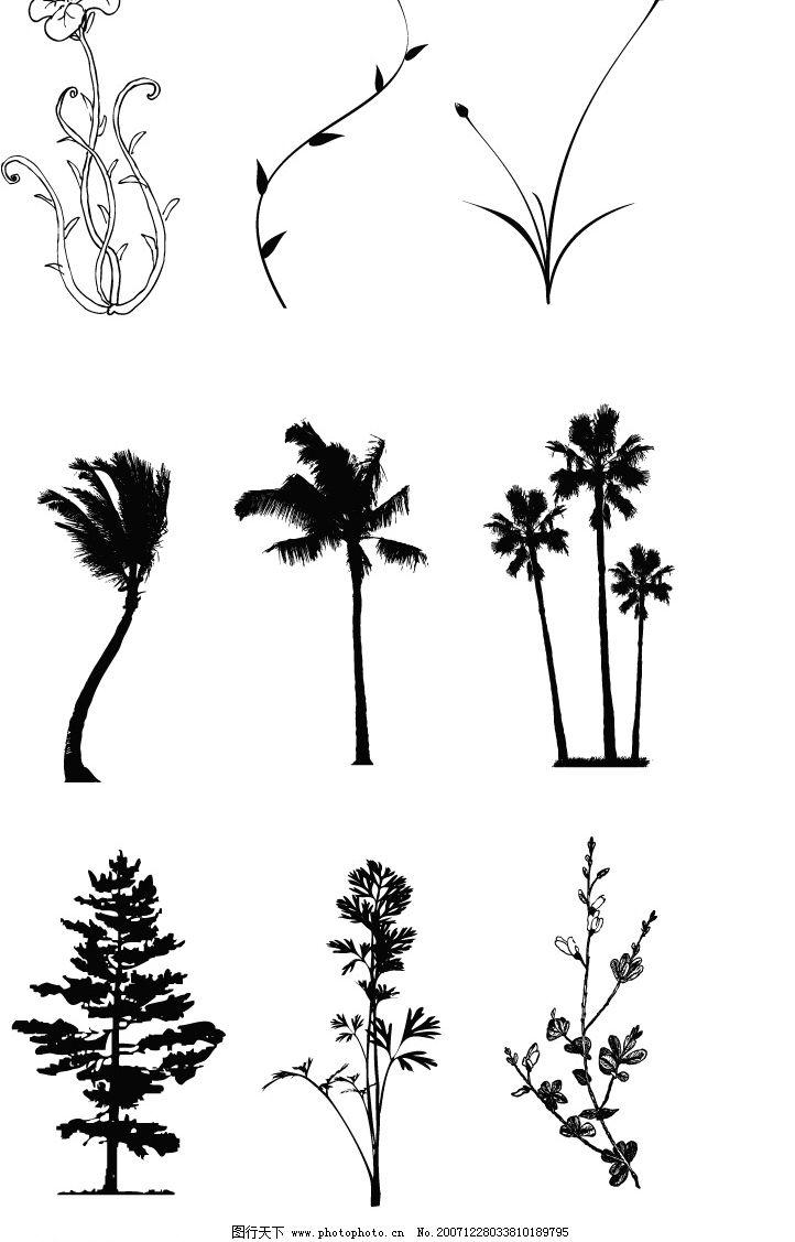 树木,花卉,藤类矢量图案素材图片