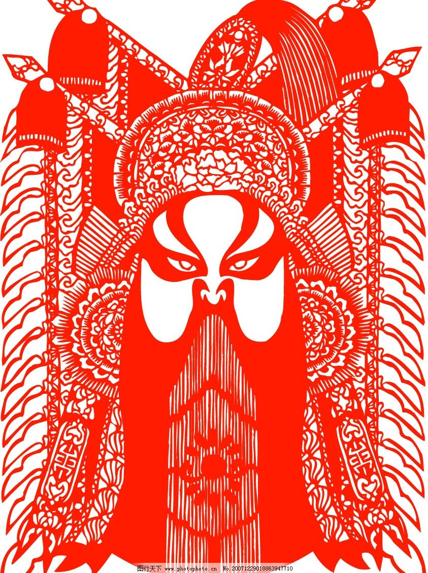脸谱 剪纸 传统文化 民间艺术 矢量素材 矢量人物 职业人物 京剧脸谱