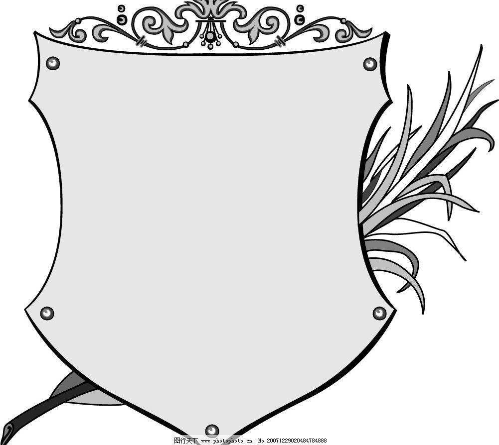 缎带画框精致装饰花纹 国外 古典 装饰 矢量 边框 花纹 草 盾牌 底纹