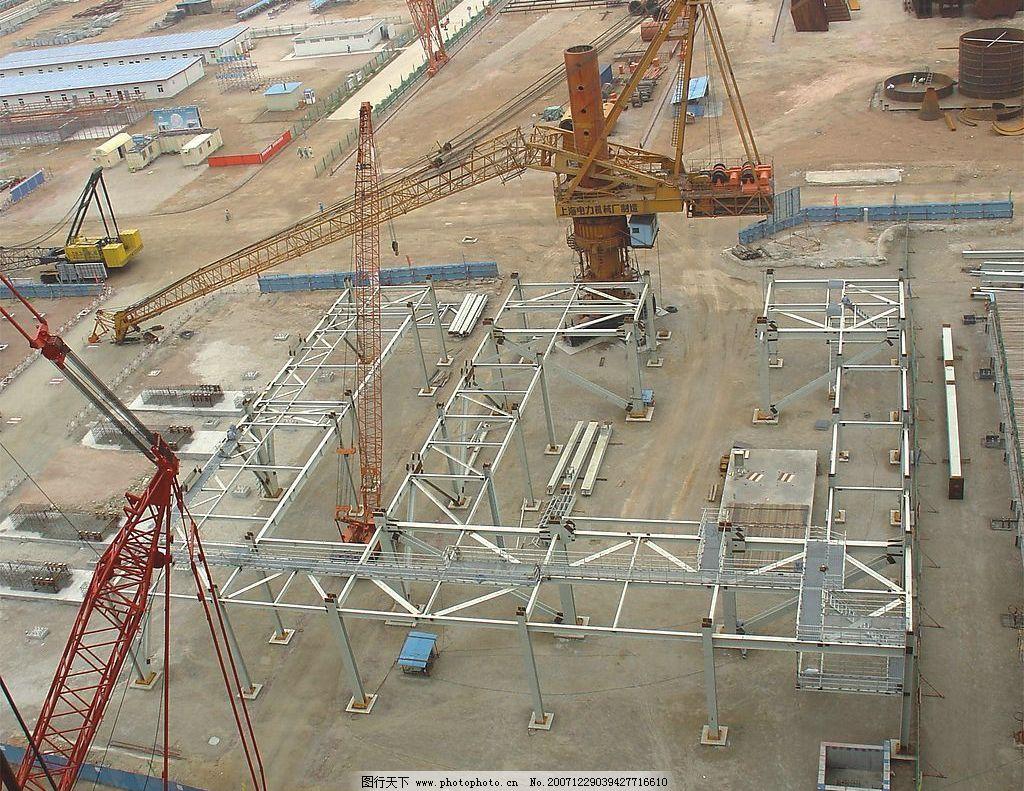 第一层钢结构吊装完毕图图片