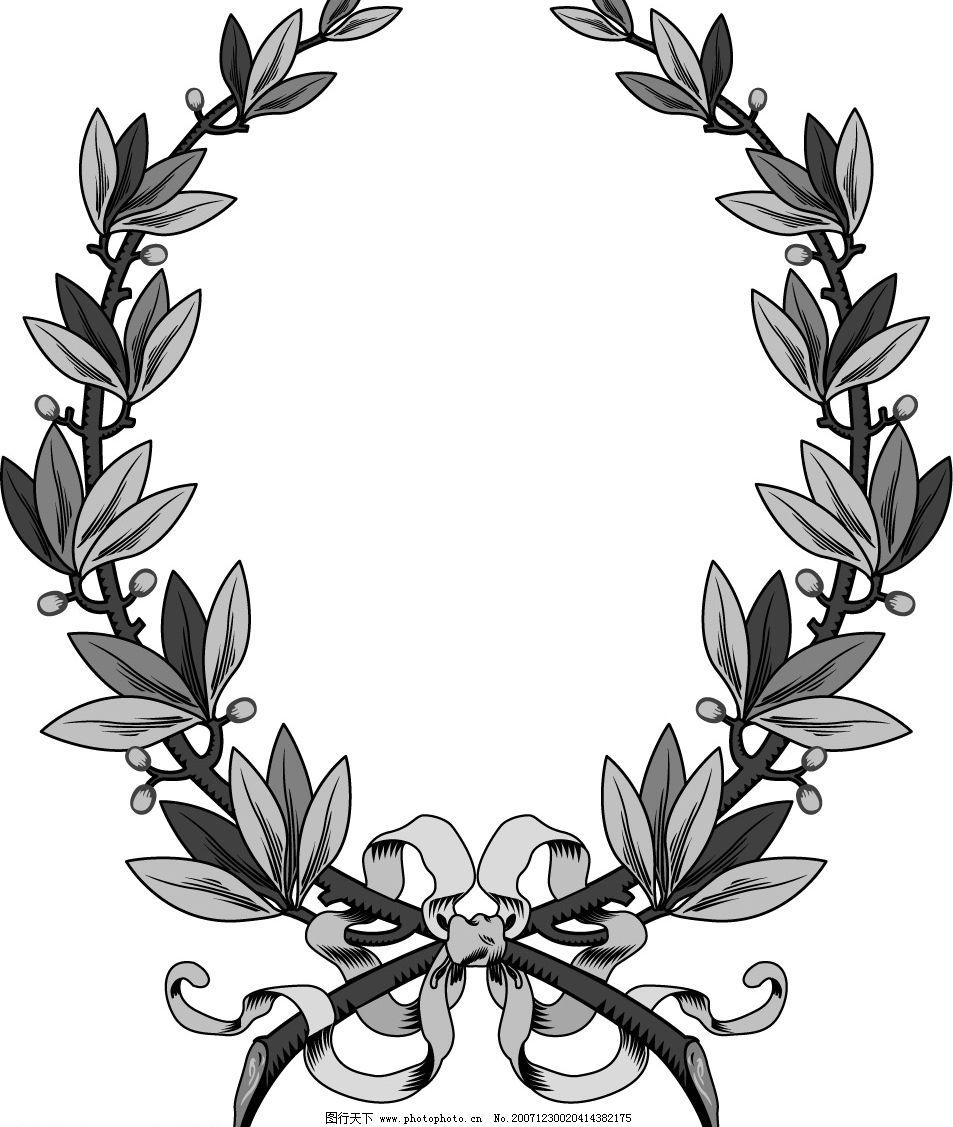 缎带画框精致装饰花纹 国外 古典 矢量 边框 椭圆形 植物 叶子