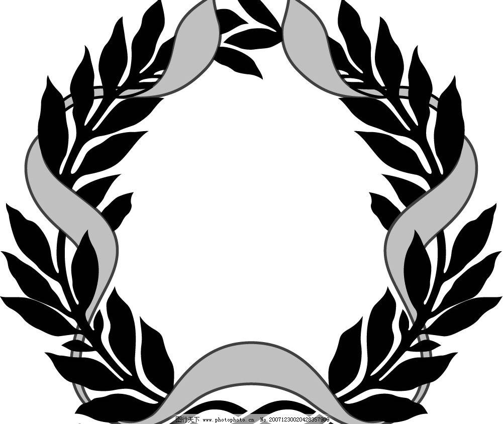 缎带画框精致装饰花纹 国外 古典 矢量 边框 圆形 树叶 飘带